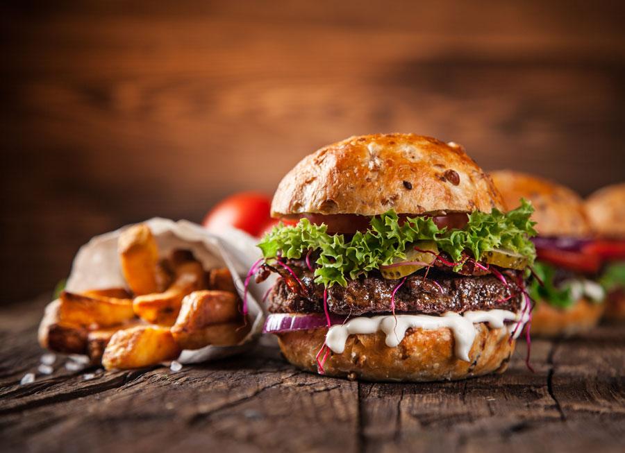 Char-Grilled Capsicum and Lamb Burger